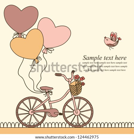 Vector illustration with bicycle, balloons and place for your text. Can be used for celebration, Birthday card, Valentine's Day Card, Wedding invitation - stock vector