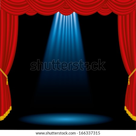 vector illustration with big spotlight on stage - stock vector