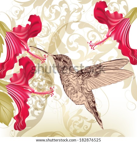 Vector illustration with bird and flowers - stock vector