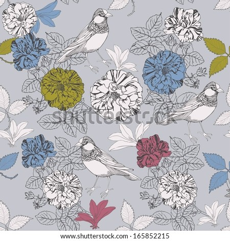 Vector illustration with birds and blooming roses. - stock vector