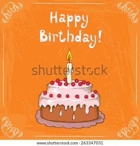 Vector illustration with birthday cake - stock vector