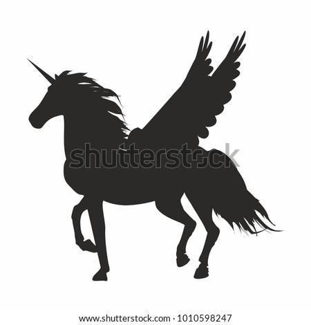Vector Illustration Black Icon Unicorn Wings Stock Vector Royalty