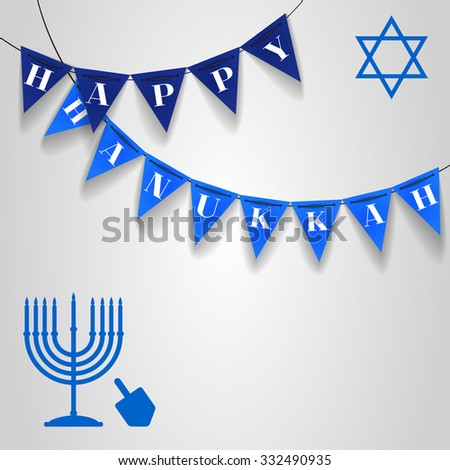 "Vector illustration with blue Hanukkah candles, dreidel and star of David with text ""Happy Hanukkah"" on dark and light triangle festival flags - stock vector"