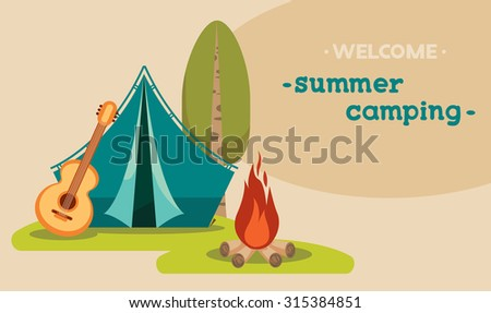 Vector illustration with blue tent, guitar and campfire on a green grass. Summer tourist camping. - stock vector