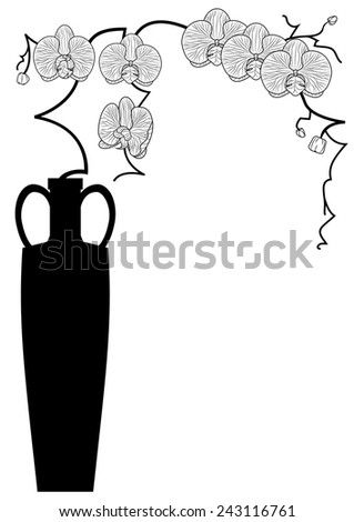vector illustration with branches of orchid in black and white colors - stock vector