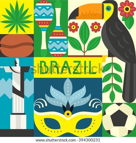 Vector illustration with Brazil symbols. Travel to Brazil concept made in flat style vector.  - stock vector