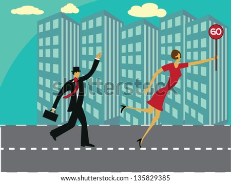 Vector illustration with business man running down the road of success - stock vector