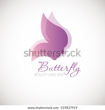 Vector illustration with Butterfly symbol. Two womens faces in a shape of butterfly wings. Logo design.  For beauty salon, spa center, health clinic