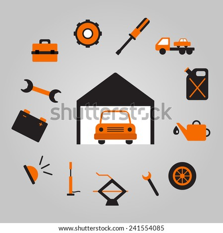 Vector illustration with car repair objects for your design
