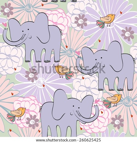 Vector illustration with cartoon elephant with flowers. Seamless pattern - stock vector