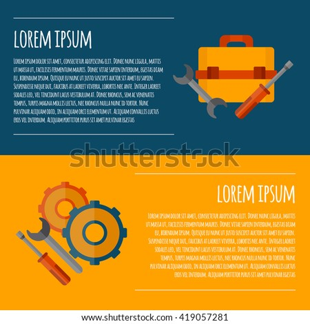 Vector illustration with cartoon flat screwdriver, wrench, cogwheel, toolbox background. Icon, emblem/ background vector concept. Repair service. Isolated tools. Vector logo for repair service - stock vector