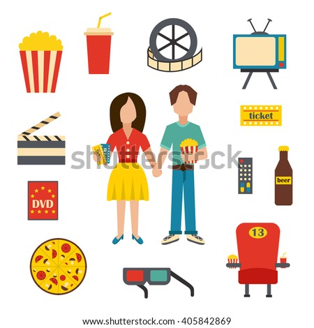 Vector illustration with cartoon objects on cinema time theme. Vector characters, popcorn, soda, pizza, 3d glasses, beer, cinema chair. Cartoon concept for cinema time or movie design - stock vector