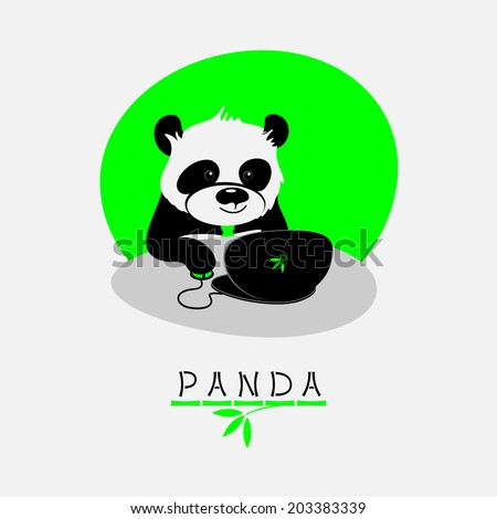 Vector illustration with cartoon panda sitting at his notebook and working - stock vector