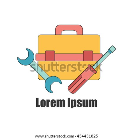 Vector illustration with cartoon screwdriver, wrench and toolbox. Repair tools background. Vector illustration with toolkit objects. Isolated repair tools logo on white background. - stock vector