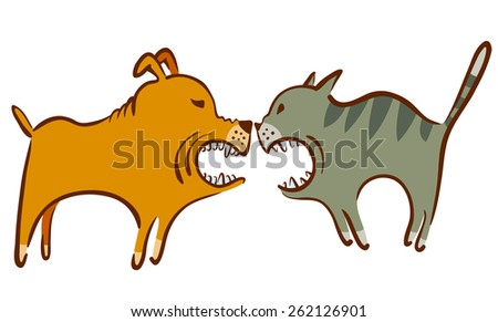 Vector illustration with cat and dog fight - stock vector