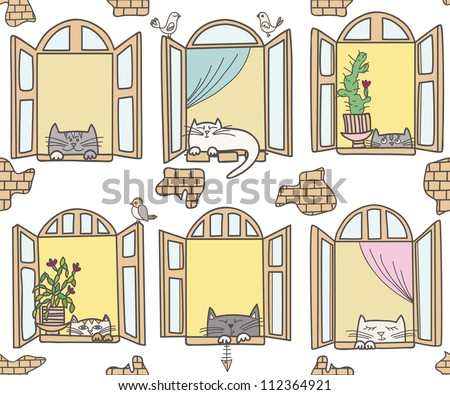 Vector illustration with cats and windows on white. Vintage windows and funny cats. Seamless pattern - stock vector