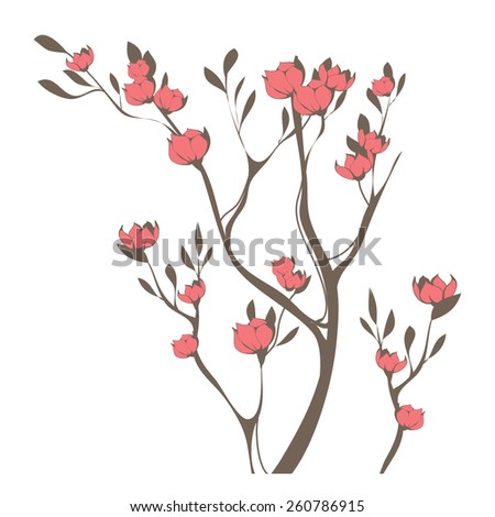 Vector illustration with cherry blossoms - stock vector