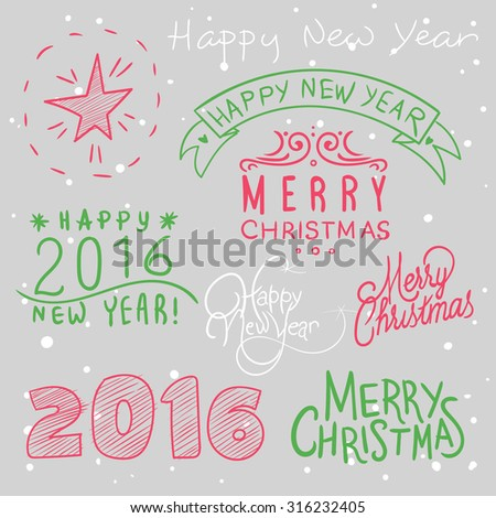 vector illustration with Christmas decals and decorative elements  text, calligraphy, font, snow, new year, 2016, the year of the monkey - stock vector