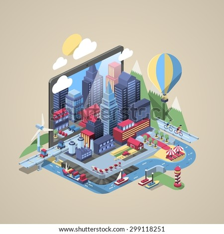 vector illustration with city on a laptop - stock vector