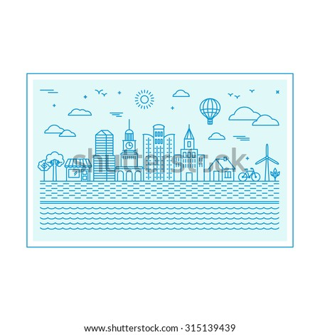 Vector illustration with city skyline in trendy linear style - abstract modern town  concept with icons in blue colors - stock vector