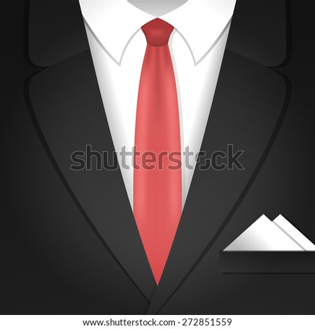Vector illustration with classic formal male clothing suit and red tie - stock vector