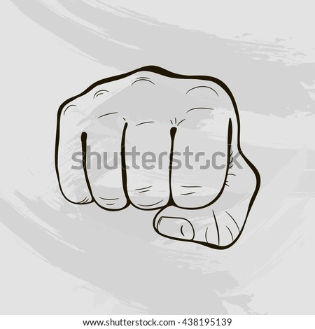 Vector illustration with clenched fist. Hand drawn clenched fist. Clenched fist aimed directly.