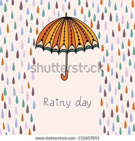 Vector illustration with clouds, rain and umbrella. - stock vector