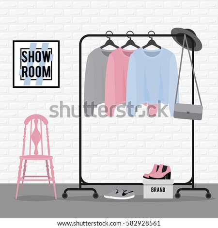 Vector Illustration With Coat Rack Closet Clothes Bags Boxes And Shoes In
