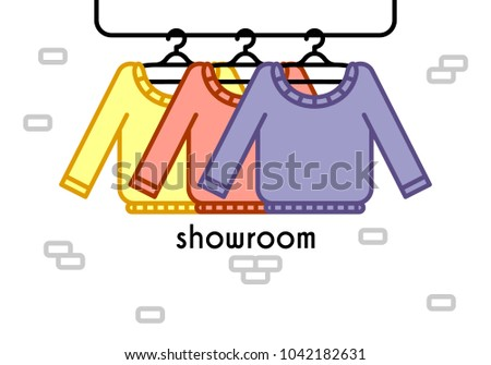 Vector Illustration With Coat Rack Showroom Closet Clothes In Flat Style