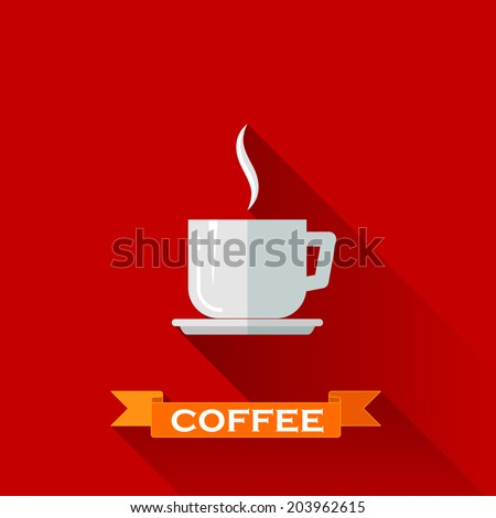 vector illustration with coffee cup icon in flat design style with long shadows - stock vector