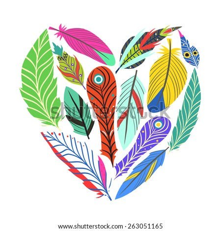 Vector illustration with colored feathers shaped on cute heart. - stock vector