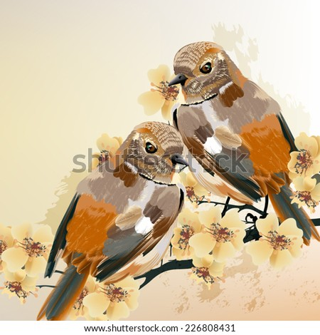 Vector illustration with colorful birds in watercolor style - stock vector