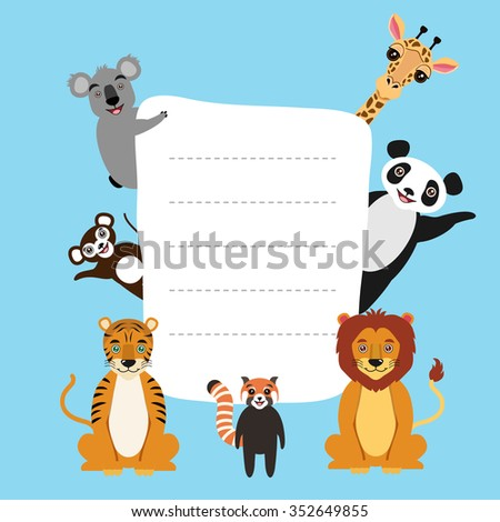 Vector illustration with copy space template. Cute cartoon animal characters. Lion, giant panda, giraffe, koala, monkey, tiger, red panda. Children illustration. - stock vector