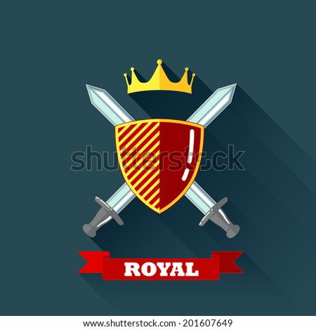 vector illustration with crossing swords, shield and crown in flat design with long shadow and red ribbon. coat of arms - stock vector