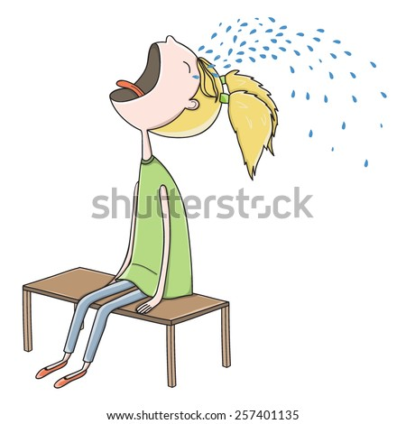 Vector illustration with crying girl - stock vector