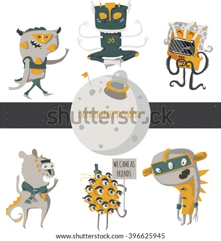 Vector illustration with cute an funky space invaders, with little planet. Set of aliens isolated on white background, standing and walking humor characters like scientist, researcher, yogi.