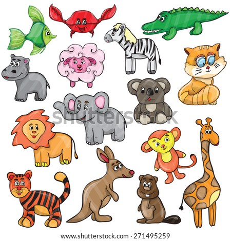 Vector illustration with cute animals - cartoon set  - stock vector
