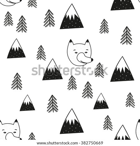 Vector illustration with cute cartoon seamless pattern. Wolf head, pine trees and mountains. Black and white doodle style print design, childish ink background - stock vector