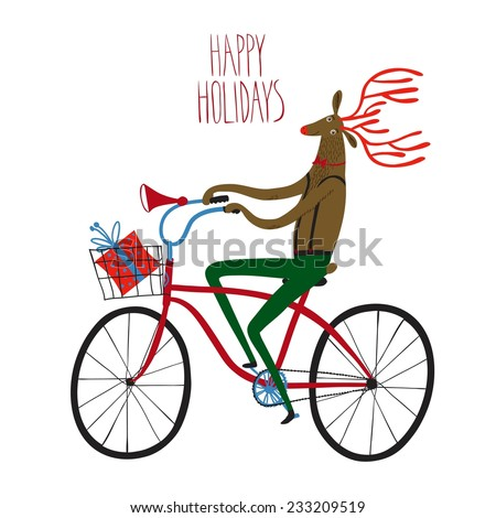 Vector illustration with cute deer on city bicycle with gift box in basket - stock vector