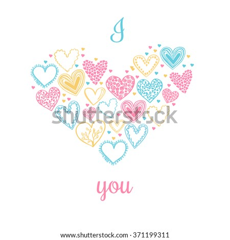 Vector illustration with cute doodle hearts in pink, yellow and blue colors on white background. Simple card or poster design with I love you inscription.