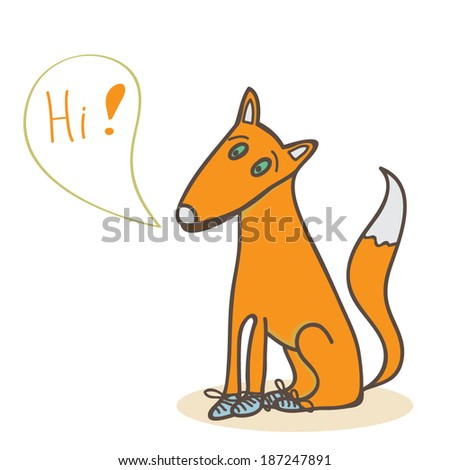 Vector illustration with cute fox saying 'hi'