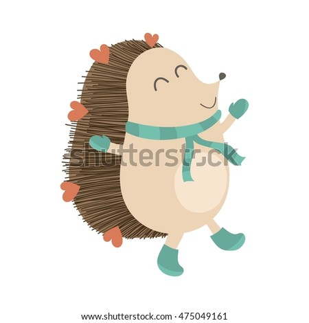 Vector illustration with cute hedgehog. Winter hedgehog with boots, scarf and mittens.