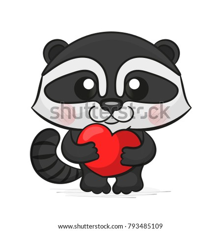 Vector illustration with cute raccoon holding in the hands of the heart. Perfect for greeting cards for Valentine's Day.