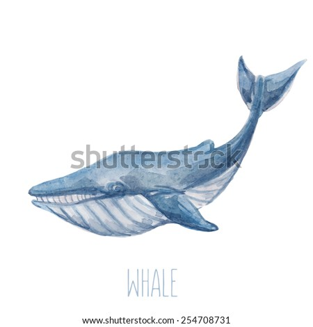 Vector illustration with cute watercolor blue whale.  - stock vector