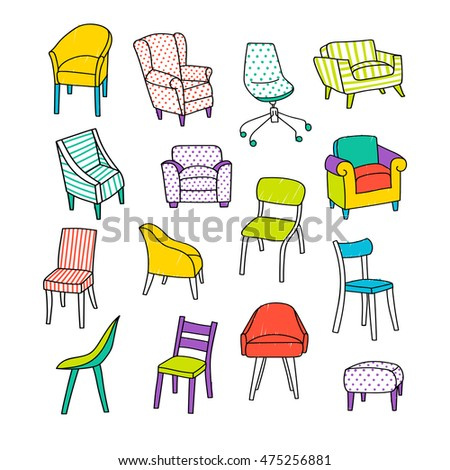 Bon Vector Illustration With Different Kinds Of Chairs. Hand Drawn Style