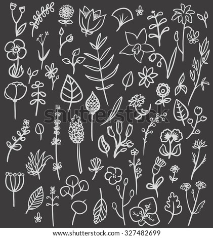 Vector illustration with doodled flowers and plants. Dark background.