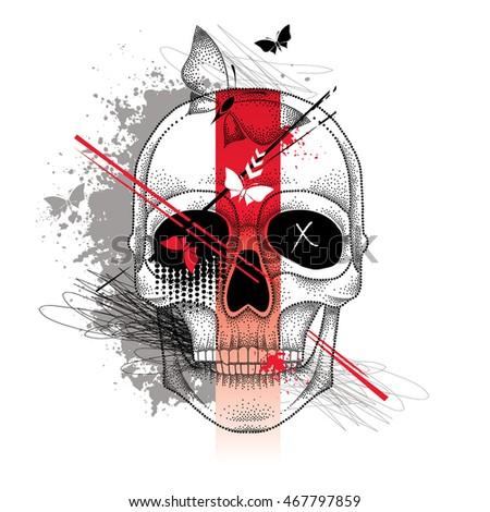 Vector illustration with dotted skull, abstract lines, butterflies and blots in red and black isolated on white. Sketch for tattoo in trendy Trash Polka and dotwork style. Creative design for tattoo.
