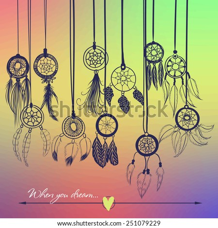 Vector illustration with dream catchers on the blurred background