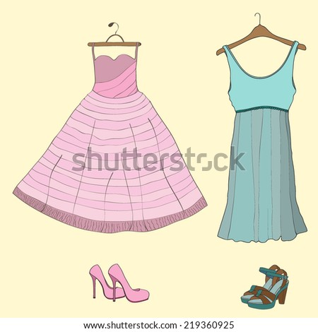 Vector illustration with dress and shoes - stock vector