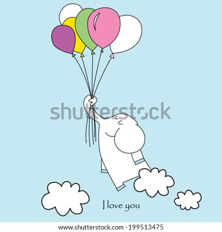 Vector illustration with elephant on the balloons - stock vector